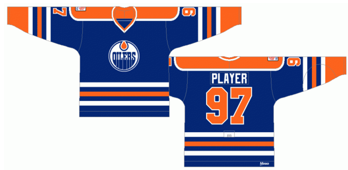 Then In 1996 97 The Oilers Pivoted To A New Colour Scheme It Involved Moving From Orange And Blue Colours Midnight Copper With Red