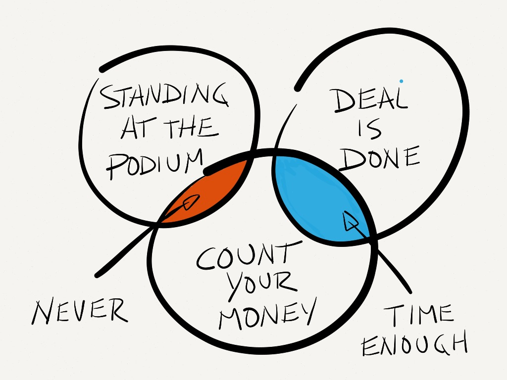 Never count your money while you're standing at the podium