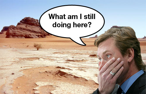 Wayne Gretzky looks into the desert and contemplates his existence in Phoenix